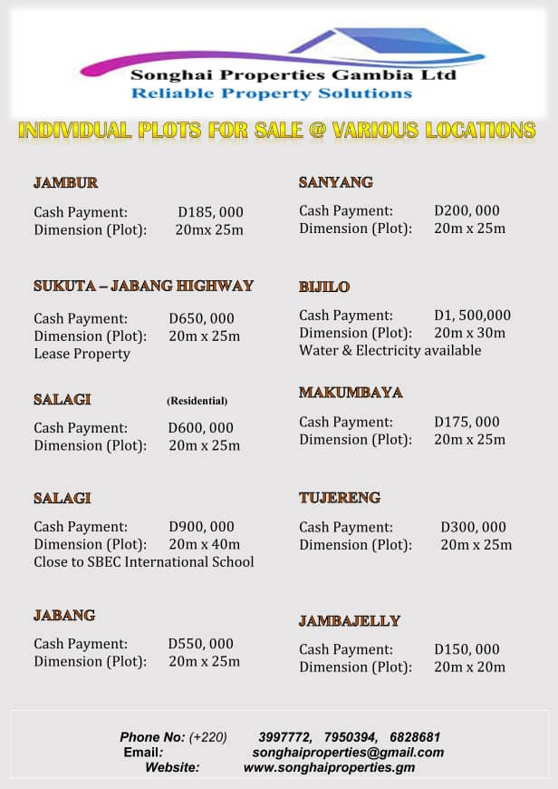 PLOTS OF LANDS FOR SALE IN DIFFERENT LOCATION WITH DIFFERENT SIZES AND PRICES
